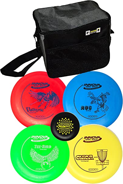 Innova Disc Golf Set with 4 Discs and Starter Disc Golf Bag – DX Distance Driver, Fairway Driver, Mid-Range, Putter and Mini Marker Disc best disc golf set