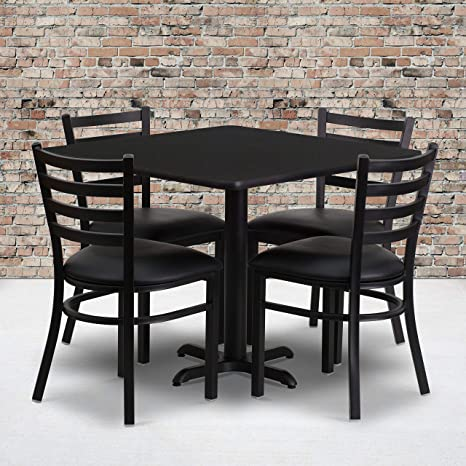 Flash Furniture 36\'\' Square Black Laminate Table Set with X-Base and 4  Ladder Back Metal Chairs - Black Vinyl Seat