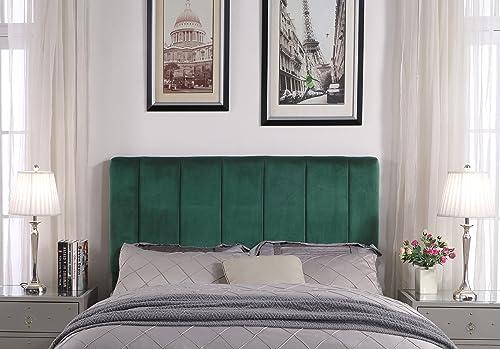 Iconic Home Uriella Headboard Velvet Upholstered Vertical Striped Modern Transitional