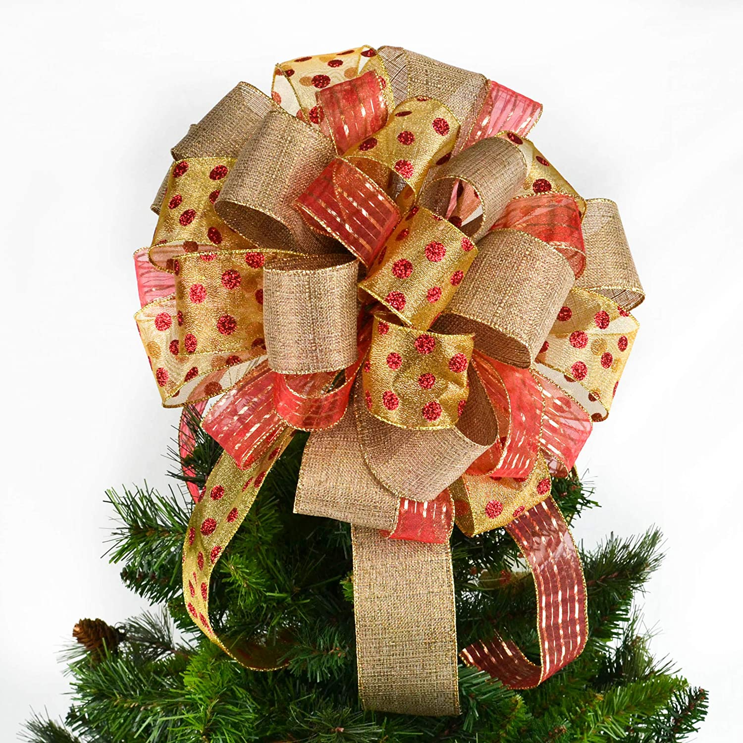 Red Burlap Gold | Tree Topper Bows | Christmas Tree Bow Topper | Present Gift Bow : TB6
