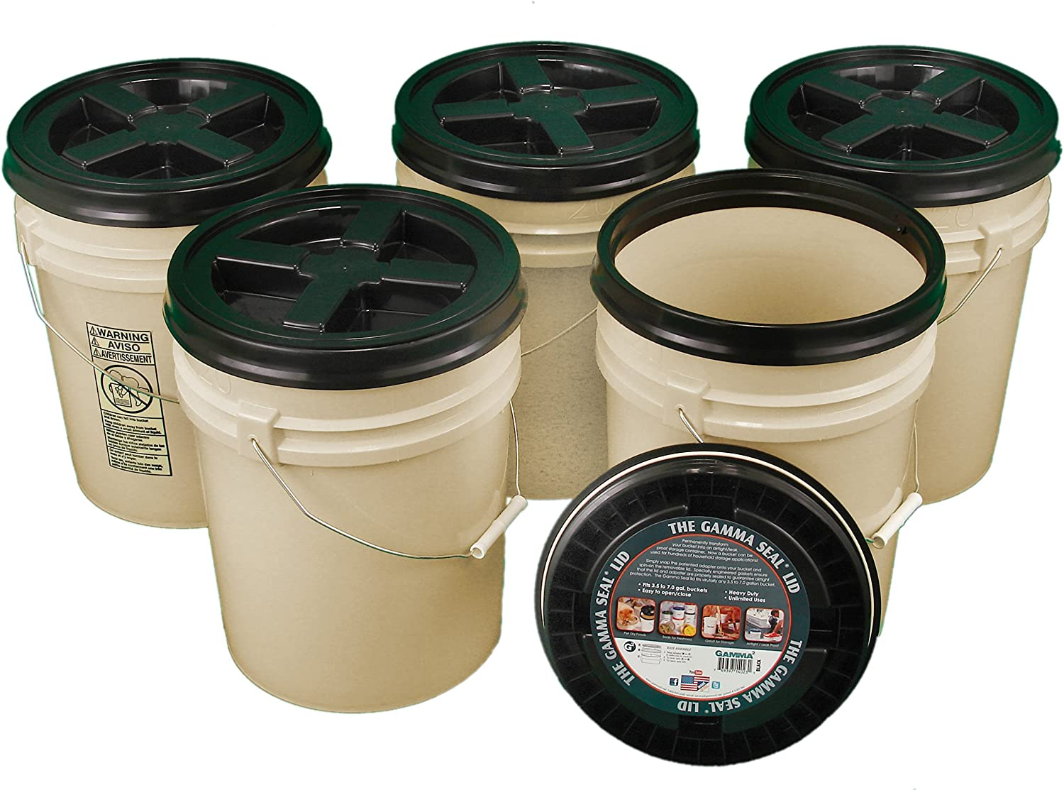 Bucket Kit, Five 90 mil Tan 5 Gallon Buckets with Black Gamma Seal Lids