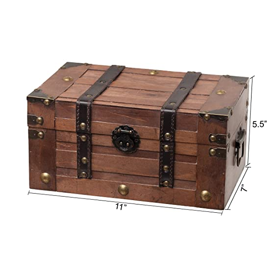 Amazon.com: SLPR Wooden Trunk Chest With Straps | Decorative Treasure Stash  Box Old Fashioned Antique Vintage Style For Birthday Parties Wedding  Decoration: ...