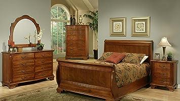 Amanda Home American Heritage Solid Cherry 4 Piece King Sleigh Bedroom Set Including King Headboard