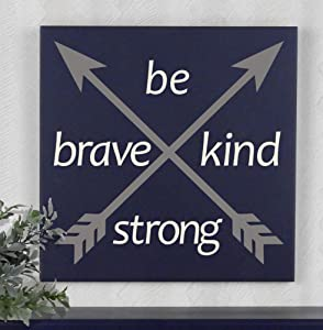 43LenaJon Be Brave, Kind, Strong Sign Arrow Woodland Nursery Wall Decor Be Brave, Kind, Strong,Rustic Hanging Wood Sign