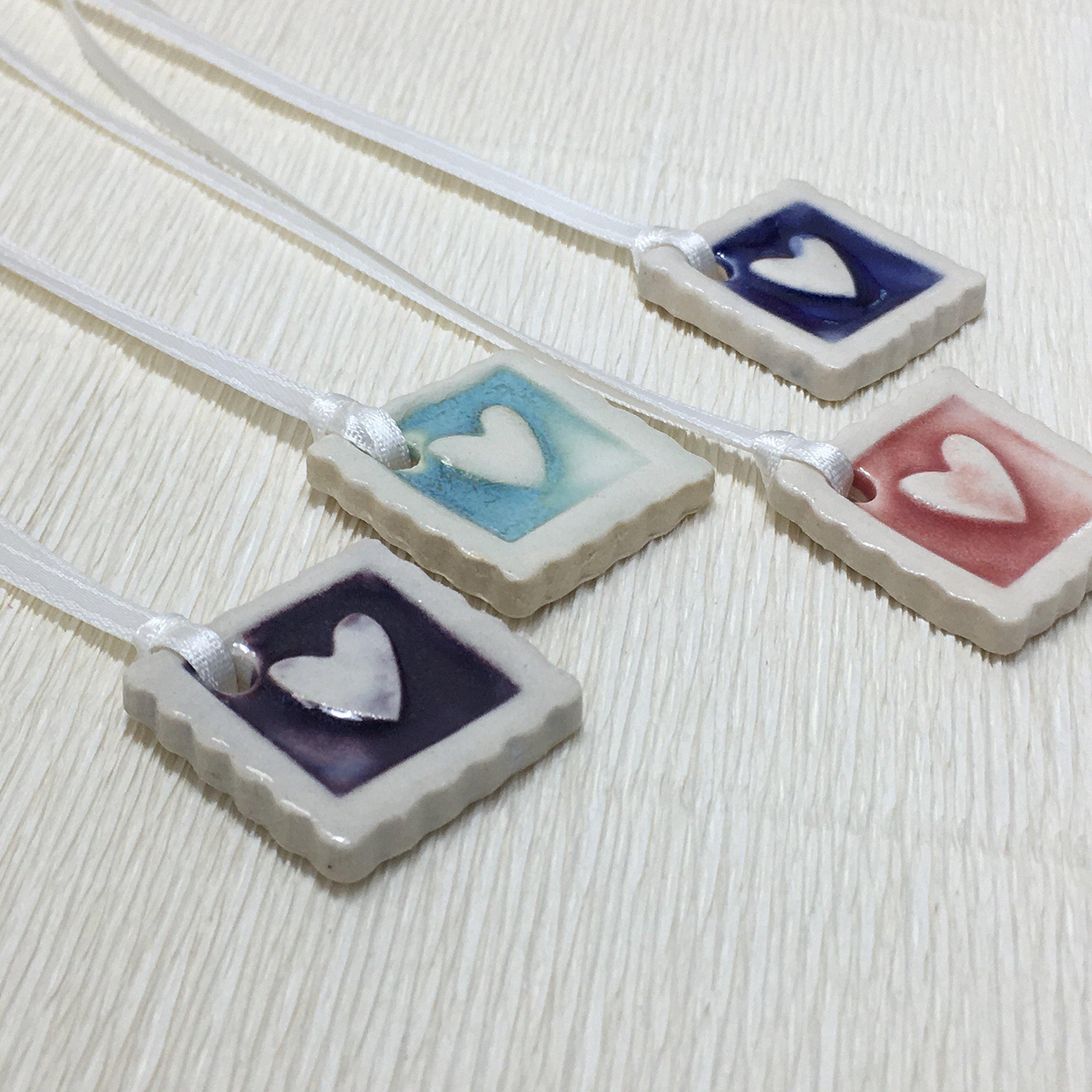 JANECKA Square Heart 1'' (Set of 4) Ornament/Essential Oil Diffuser/Pottery 9th Anniversary Gift