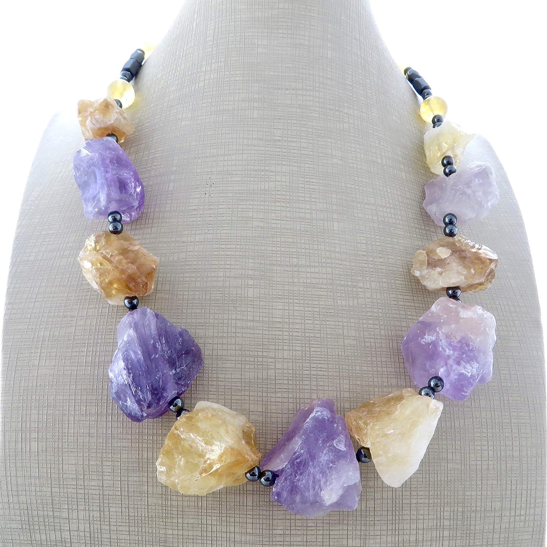 Collar de amatista lavanda y citrino amarillo, collar de piedras semi preciosas, joyas rusticas, joyas contemporaneas, joyas para mujer