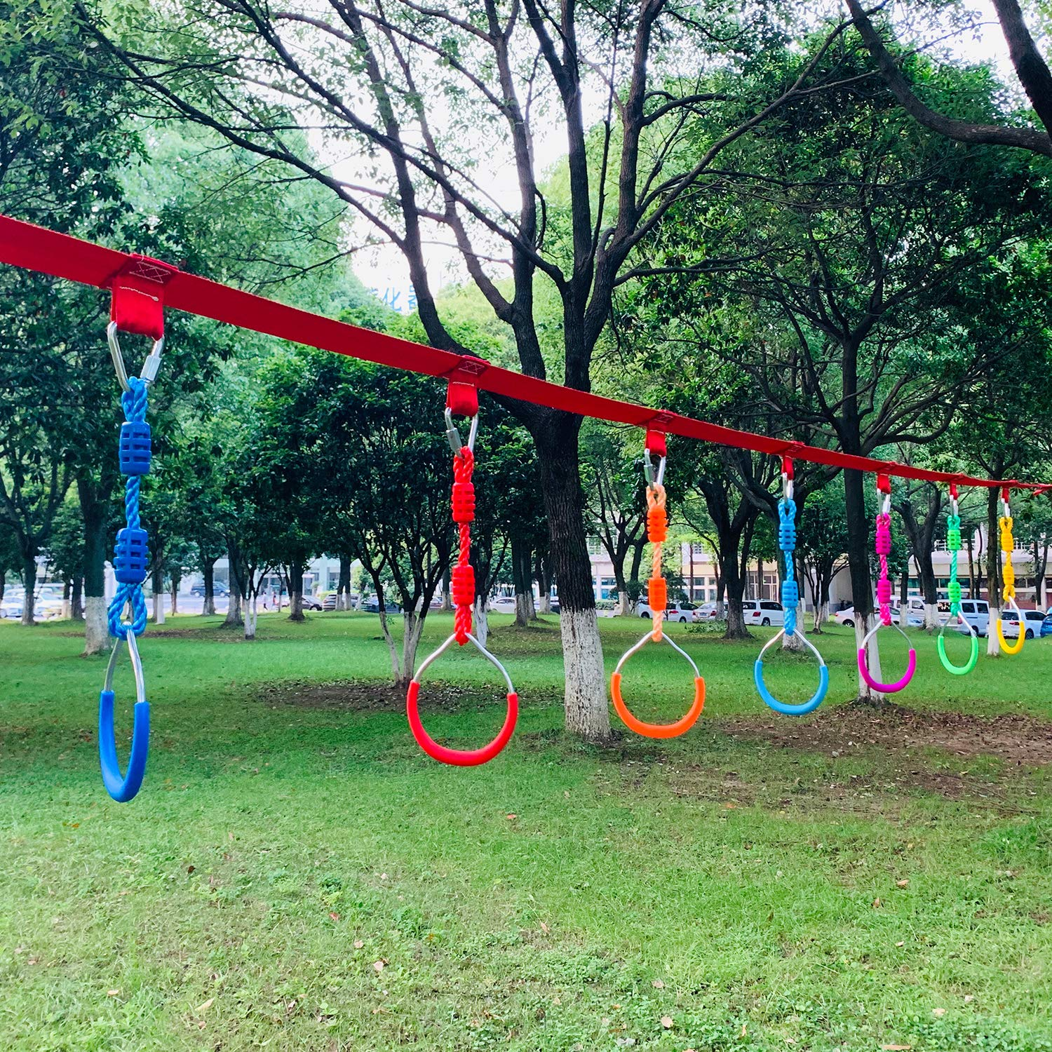 Rainbow Craft Swing Bar Rings - Colorful Backyard Outdoor Gymnastic Ring, Ninja Ring, Monkey Ring, Climbing Ring and Obstacle Ring- 7 pcs Pack by Rainbow Craft (Image #4)