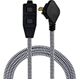 Cordinate Designer Extension Cord, 3 Outlet, 8 ft Power Cord, Flat Plug, Safety Lock Outlets, Long Braided Cord, Black/White, 39984