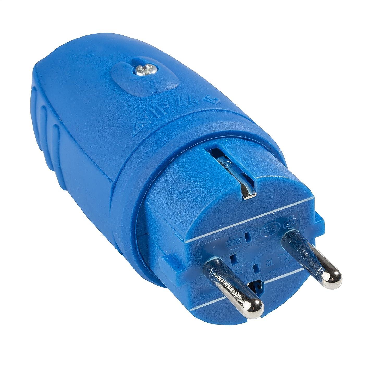 Fiche /à Contact de Protection as s Schwabe 62401 Caoutchouc 230 V Bleu IP44 1 pc