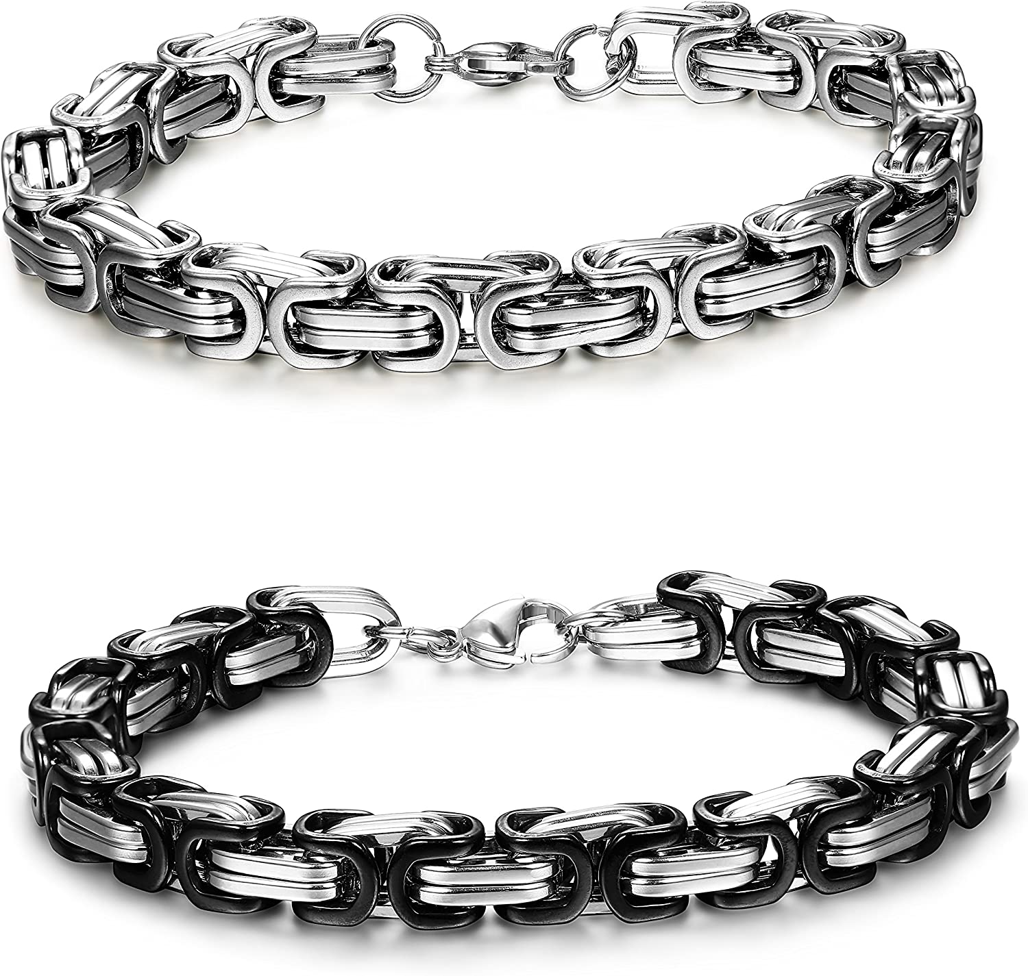 FIBO STEEL 2 Pcs 8MM Stainless Steel Chain Link Bracelets for Men Byzantine Bracelets,8.0-9.1 inches