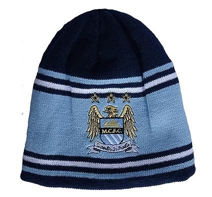 Mens Manchester City Man City Bronx Stripe Reversible Beanie Winter ... 0320f1b70c7