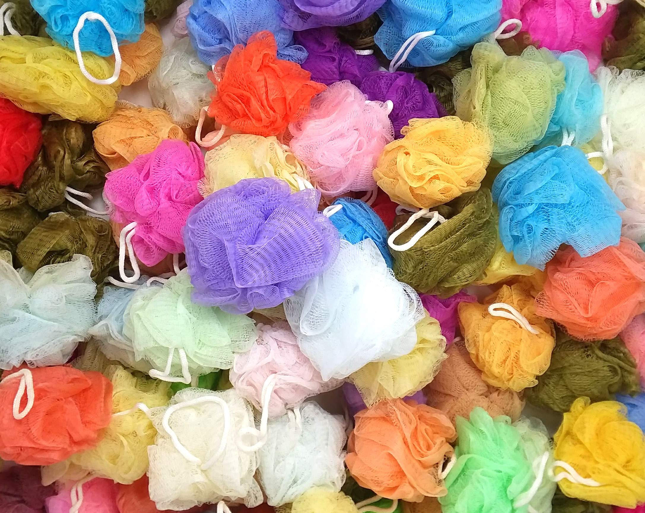 20 Bath or Shower Sponge Loofahs Pouf Large 4 inch Mesh Assorted Colors WHOLESALE BULK LOT by Chachlili (Image #1)