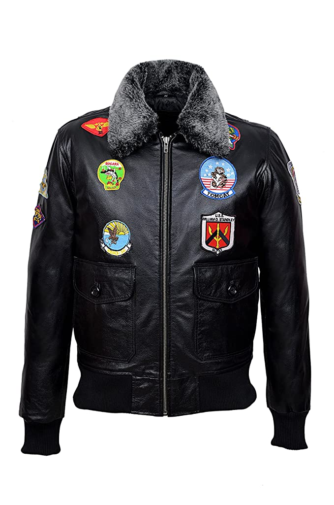 1c47bfe2f4216 'TOP GUN BLACK' Men's Jet Fighter Bomber Navy Air Force Pilot Leather Jacket  · '