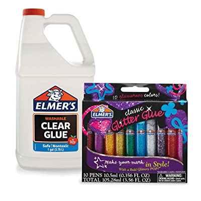 Elmer's Liquid Clear School Glue, 1 Gallon and 3D Washable Glitter Glue Pens, Classic Rainbow, Pack of 10 - Great For Making Slime : Office Products