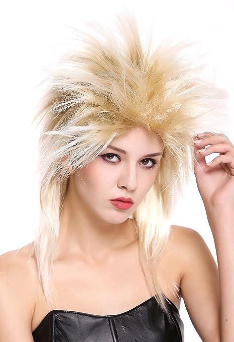 WIG ME UP ® - 90891-ZA89TZA88 Peluca Mujer Hombre Carnaval Halloween años 80 Punk Wave mójol Pelo de Punta Mezcla Rubio
