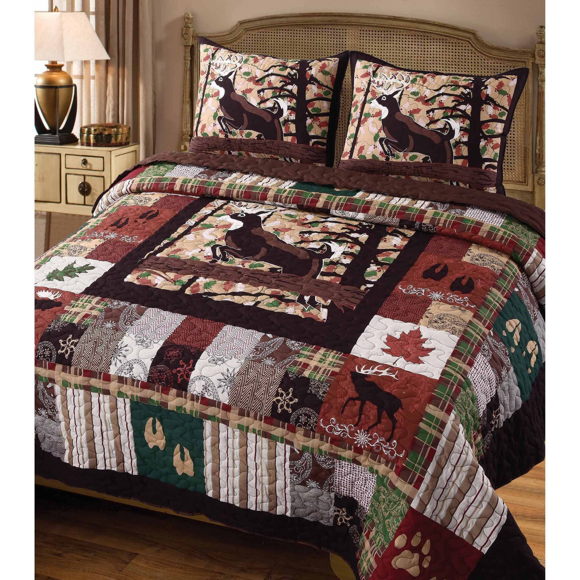 3 Piece Multi Color Wildlife Lodge Themed Quilt Set King, Attractive Stags Footprints Century Leaf Natural Elements Log Cabin Elk Buck Moose Quilted Luxurious Kids Bedding Teen Bedroom, Cotton