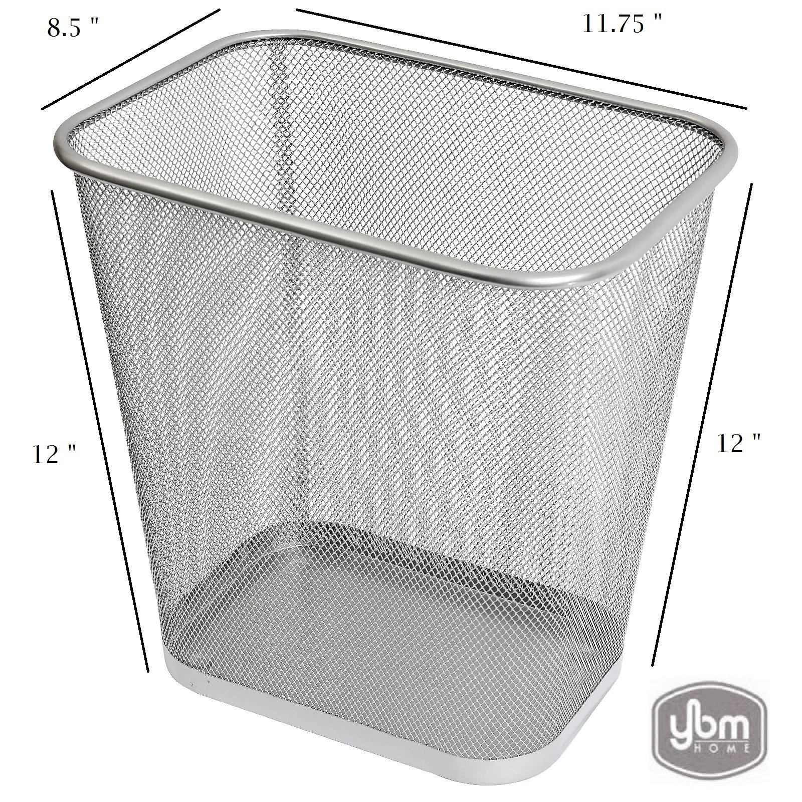 Ybmhome Steel Mesh Rectangular Open Top Waste Basket Bin Trash Can for Office Home 8x12x12 Inches 1042s (1, Silver)