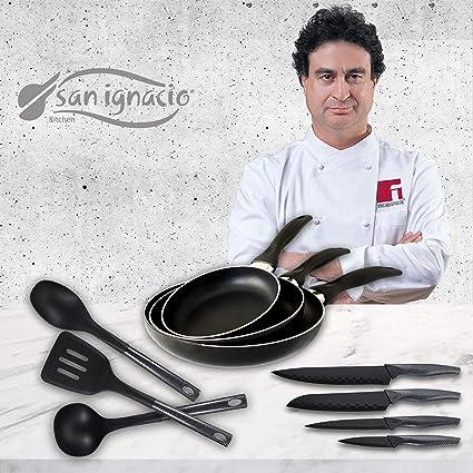 San Ignacio Navy Black Set de 3 sartenes + 4 Cuchillos 3 Utensilios de Cocina