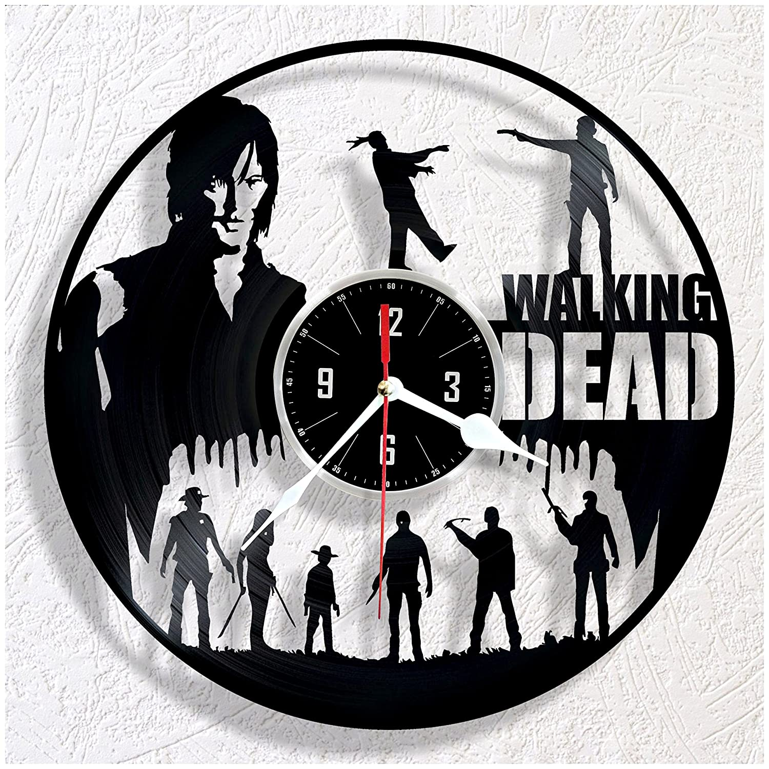 HMGift WALKING DEAD vinyl wall clock – great gift for birthday, anniversary or any other occasion – beautiful home decor – unique design that made out of retro vinyl record