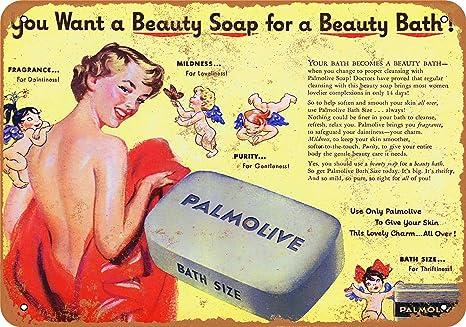 laundry bathroom Palmolive Soap Advert Vintage Retro style Metal Sign