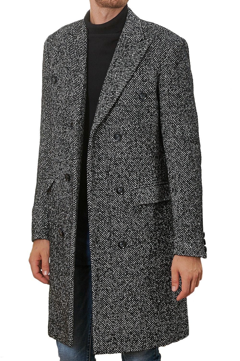 Hanayome Men's Outwear Double Breasted Notch Lapel Long Winter Herringbone Jacket Coat SI127 (Grey, L)