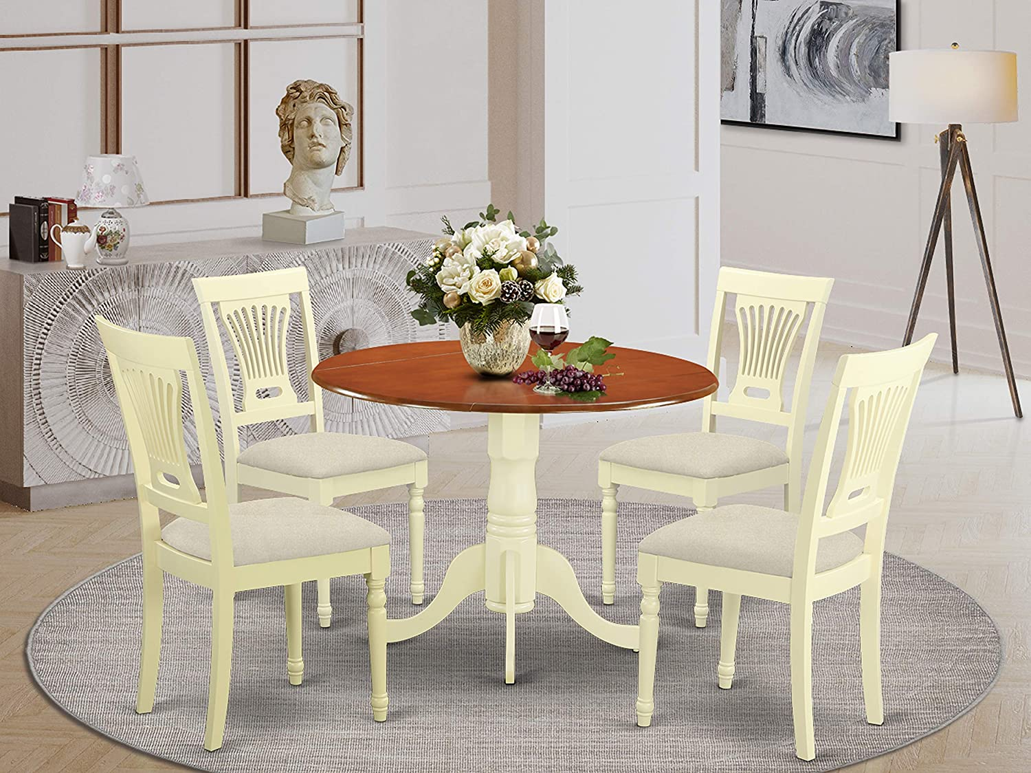 East West Furniture DLPL5-BMK-C 5-Piece dinette set Buttermilk & Cherry finish- Two 9-inch Drops Leave and Pedestal Legs kitchen dining table & 4 Slatted Back dining chairs
