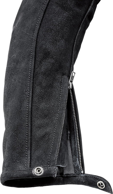 M-XXL // 2XL weiches Delroy Motorradjacke mit Protektoren Motorrad Jacke Nubuk Lederjacke 1.0 Armweitenverstellung Nubukleder Protektoren-Taschen Schwarz Au/ßentaschen mit Rei/ßverschluss