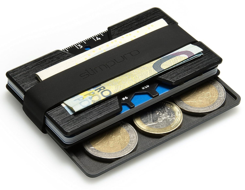SLIMPURO® Monedero Pequeño - Estuche Universal Para Monedas Hecho De Aluminio Para Su Tarjetero, Cartera, Billetera, Funda Para Tarjetas o Cartera Monedero: ...