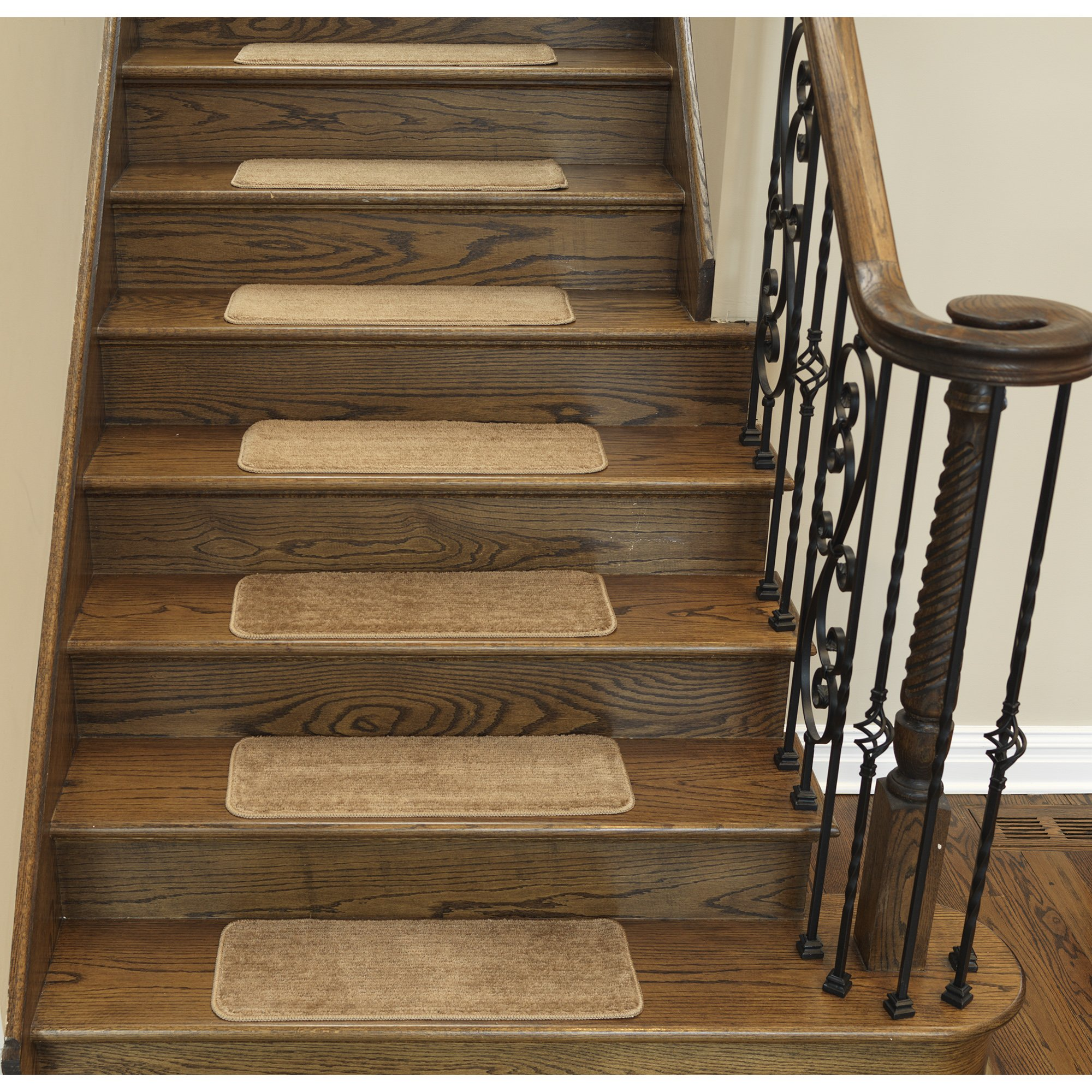 Ottomanson Softy Stair Treads Solid Beige Camel Hair, Skid Resistant Rubber Backing Non Slip Carpet 9'' L x 26'' W, Stair Tread Mats, Set of 7 by Ottomanson