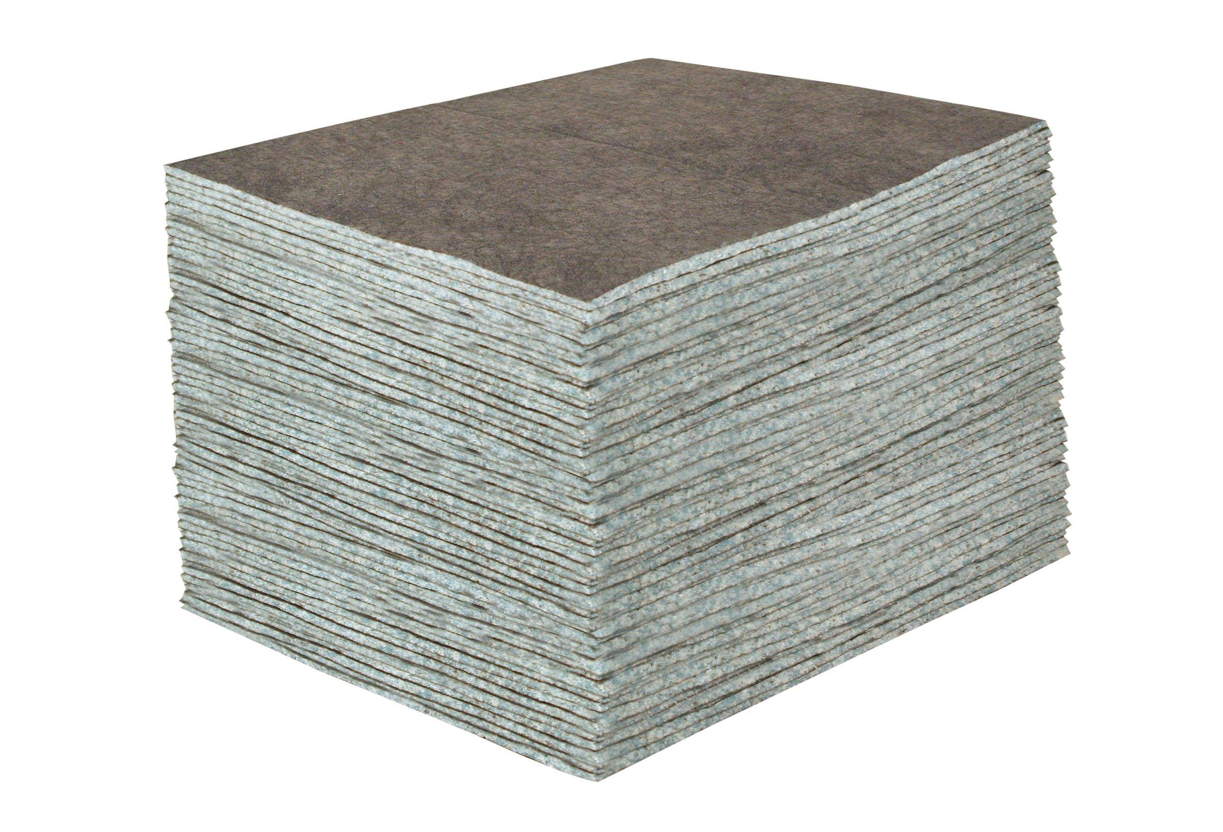 Sellars 23200 ToolBox DuraSoak Fiber Medium Duty General Purpose Absorbent Pad, 30.3 Gallon Absorbancy, 19'' Length x 15'' Width, Gray (Case of 100)