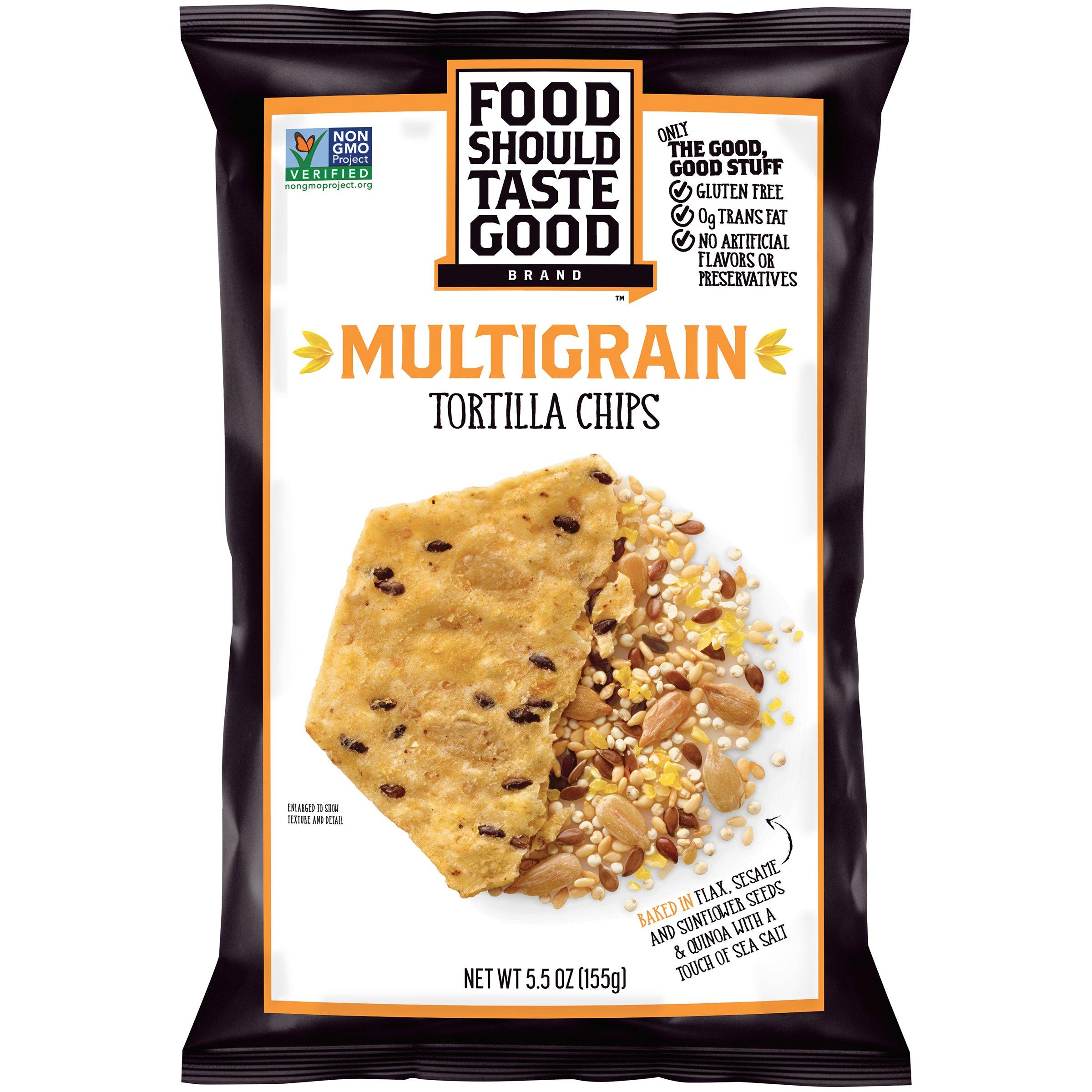 Food Should Taste Good, Tortilla Chips, Multigrain, Gluten Free Chips, 5.5 oz (Pack of 12) by Food Should Taste Good