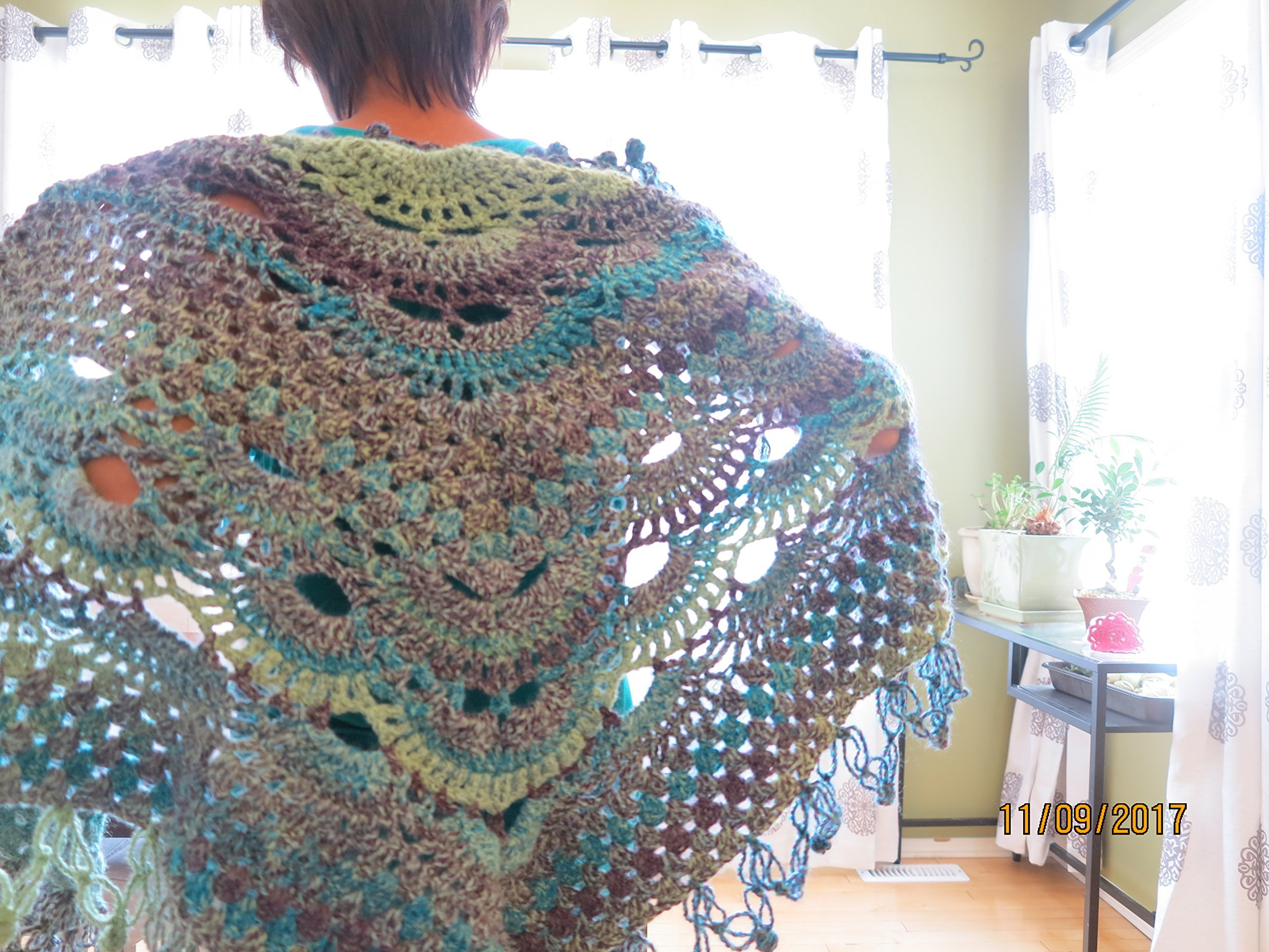 Crocheted Virus Shawl and granny stitch