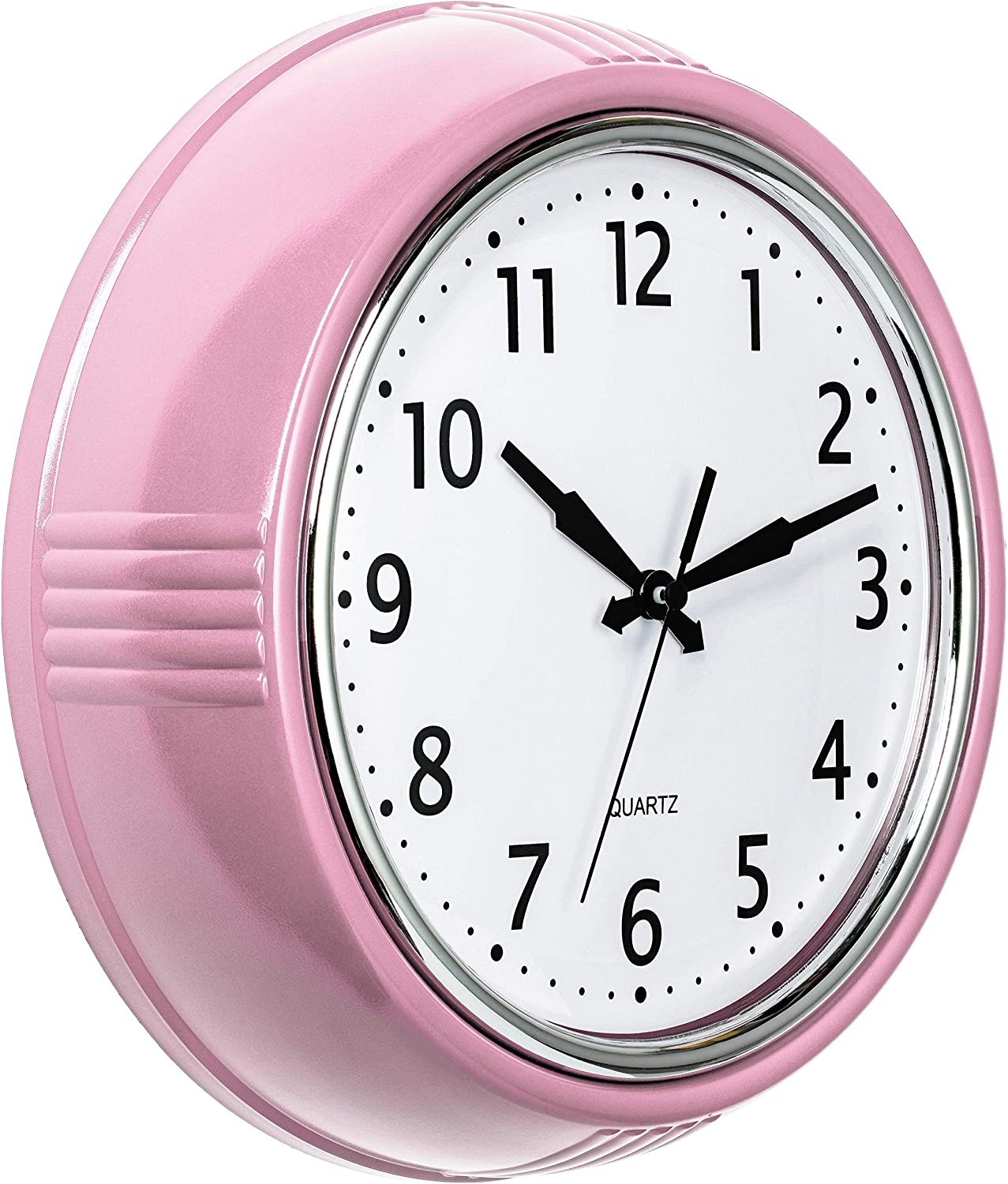 Bernhard Products Retro Wall Clock 9.5 Inch Pink Kitchen 50's Vintage Design Round Silent Non Ticking Battery Operated Quality Quartz for Home Office Baby Nursery Girls Room Classroom, Easy to Read