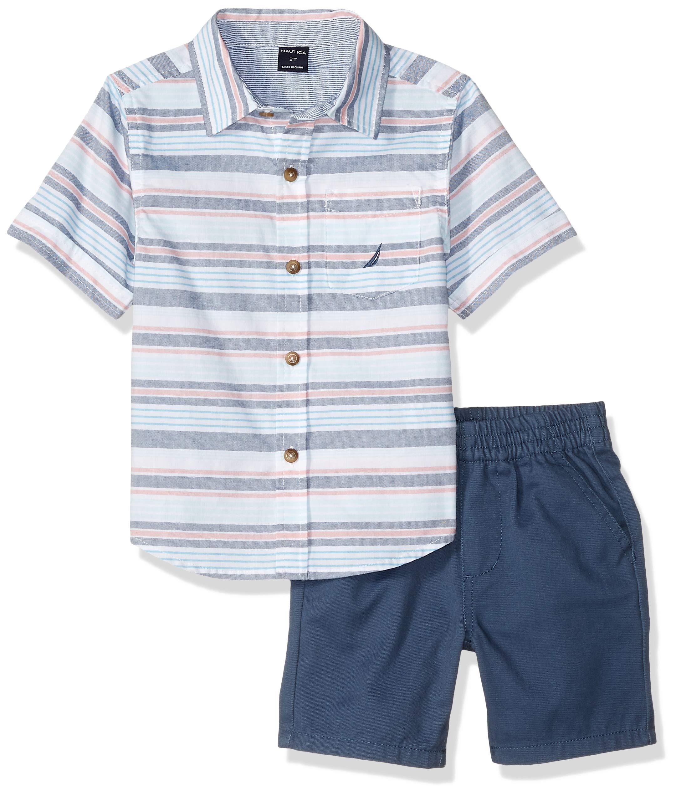 Nautica Sets (KHQ) Boys' Little 2 Pieces Shirt Shorts Set, Stripes/Blue, 7