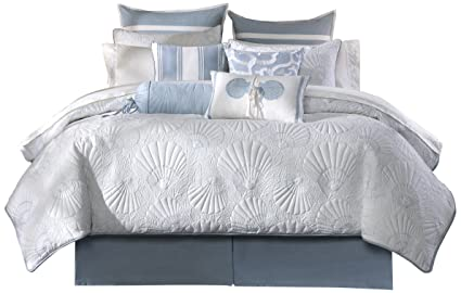 harbor house crystal beach cal king size bed comforter set pale blue quilted coastal - Harbor House Bedding