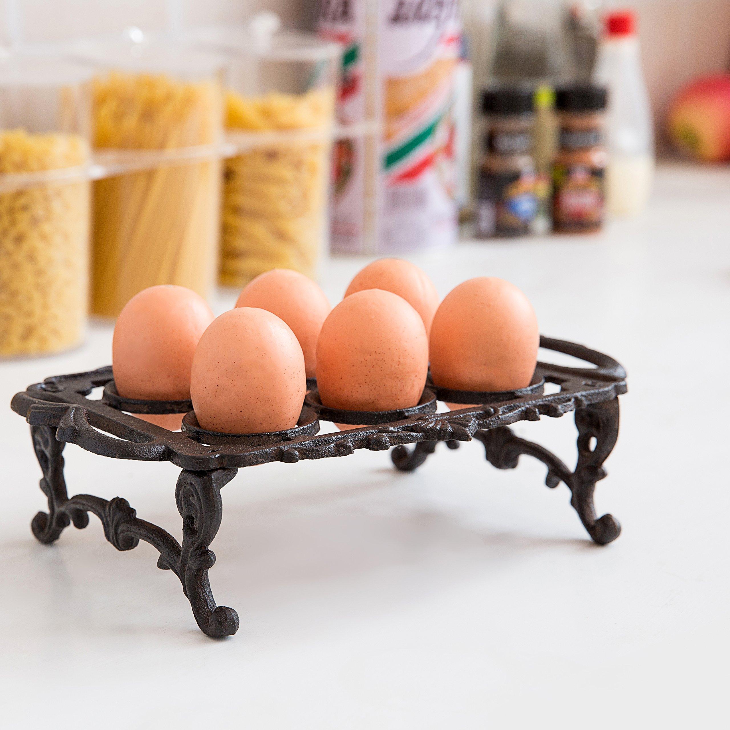 Cast Iron Vintage Style 6 Egg Holder Tray / Kitchen Storage Display Rack with Handles, Black