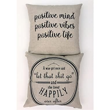 Evelyn Hope Co. Positive Vibes-Let that shit go linen pillow