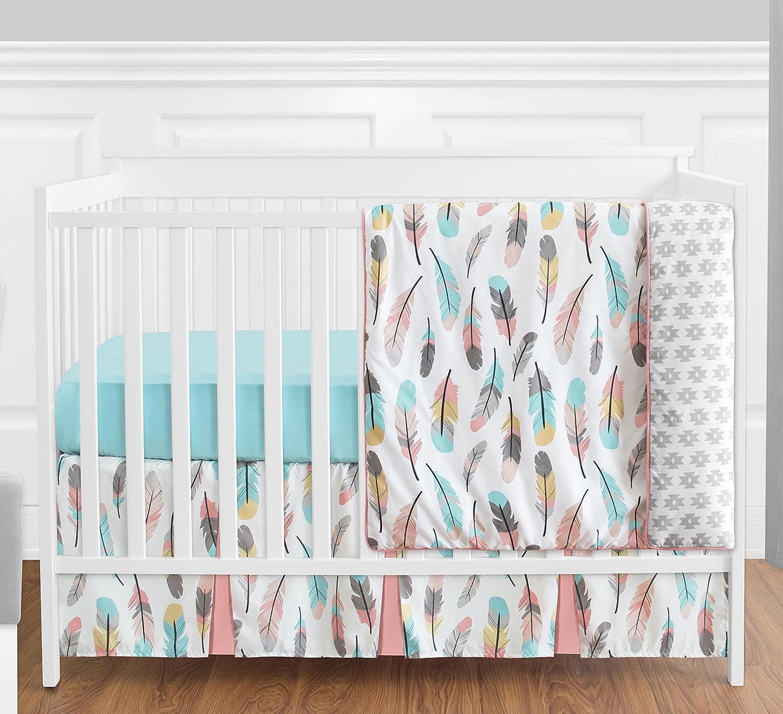 Feather Baby Girls 4 Piece Crib Bedding Set