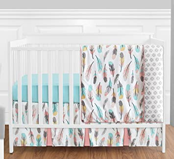 feather baby girls 4 piece crib bedding set without bumper - Baby Bedding For Girls