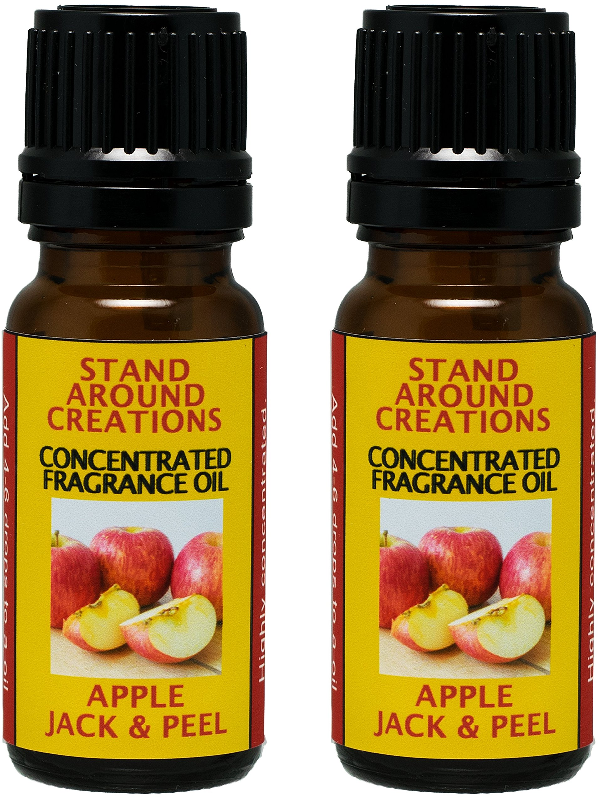 Set of 2 - Concentrated Fragrance Oil - Apple Jack & Peel - Apples and oranges blended w/ cinnamon, clove, nutmeg. Infused w/essential oils. (.33 fl.oz.)