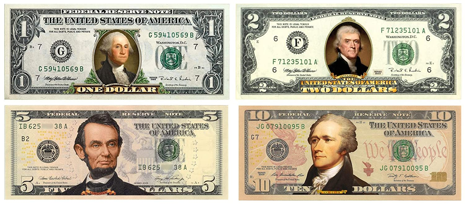 Set of 4 COLORIZED 2-SIDED US Bills Currency $1//$2//$5//$10 Legal Tender Banknotes