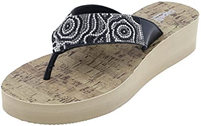 288f060b0 Capelli New York Ladies Flip Flops with Multi Rhinestones and Faux Cork  Sock Black Combo 6