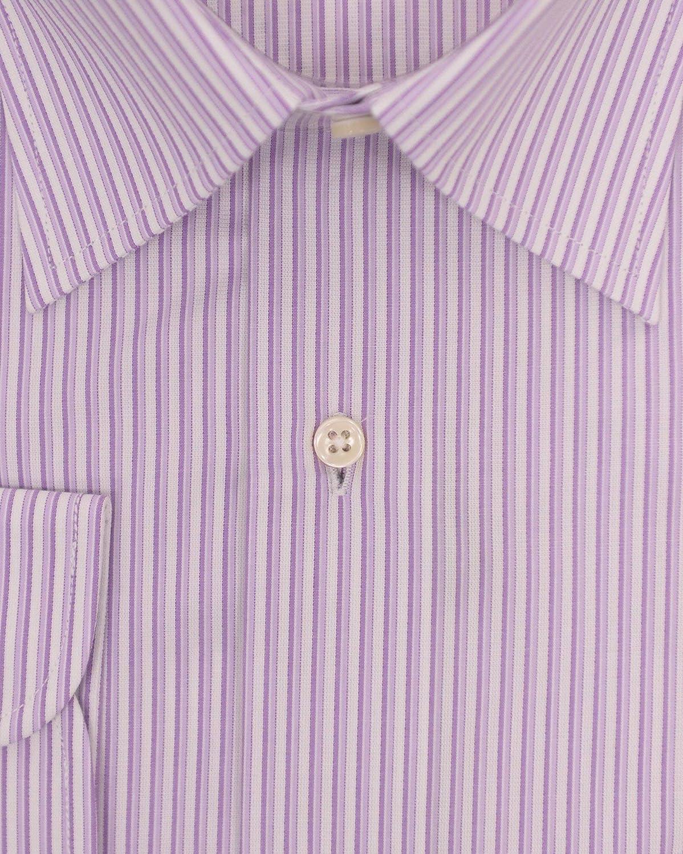 Chams Classic Fit Purple Striped Cotton Dress Shirt