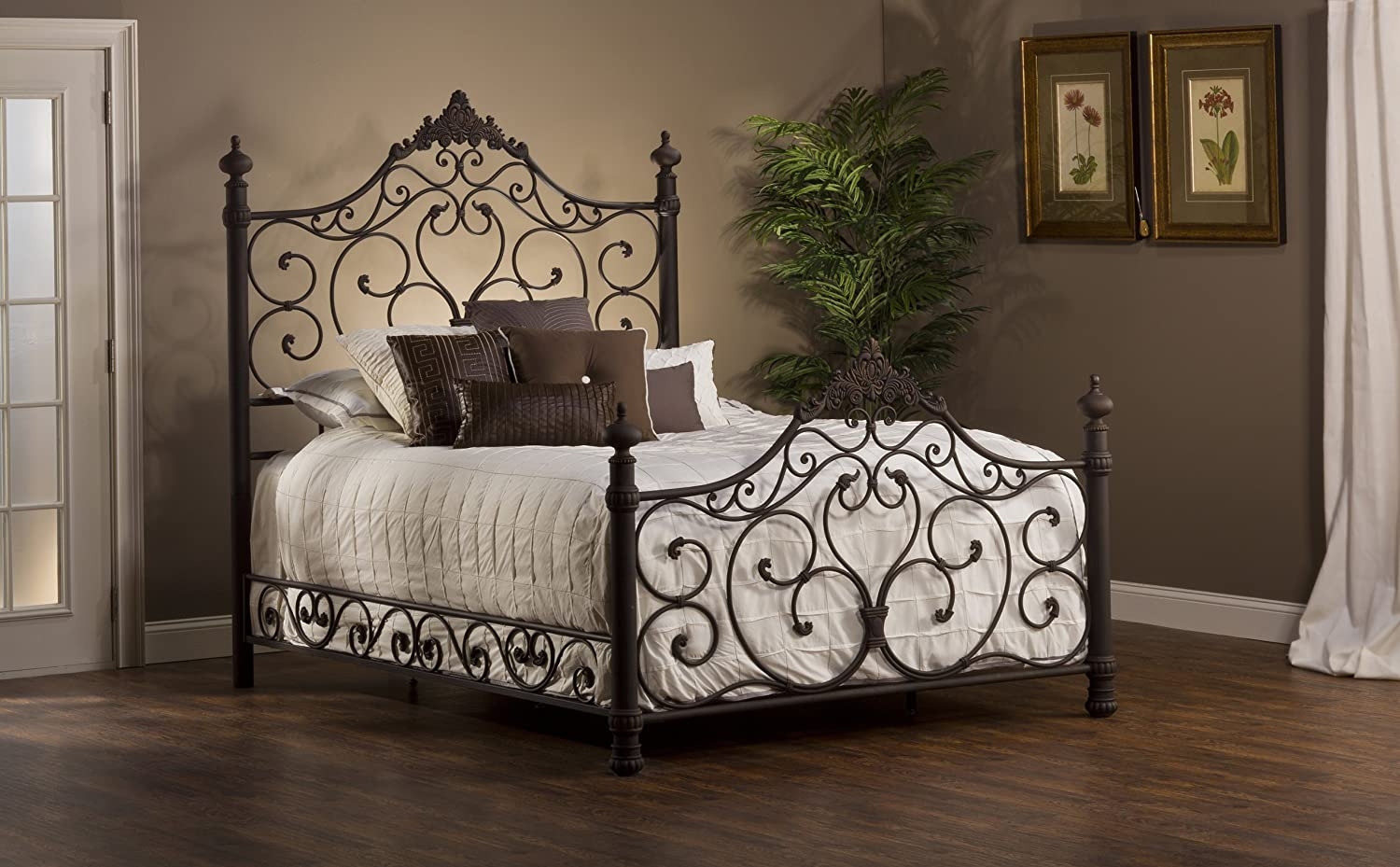 Amazon.com: Panel Bed Set With Rails In Antique Brown Finish (Queen: 85 In.  L X 66.25 In. W X 72 In. H): Kitchen U0026 Dining