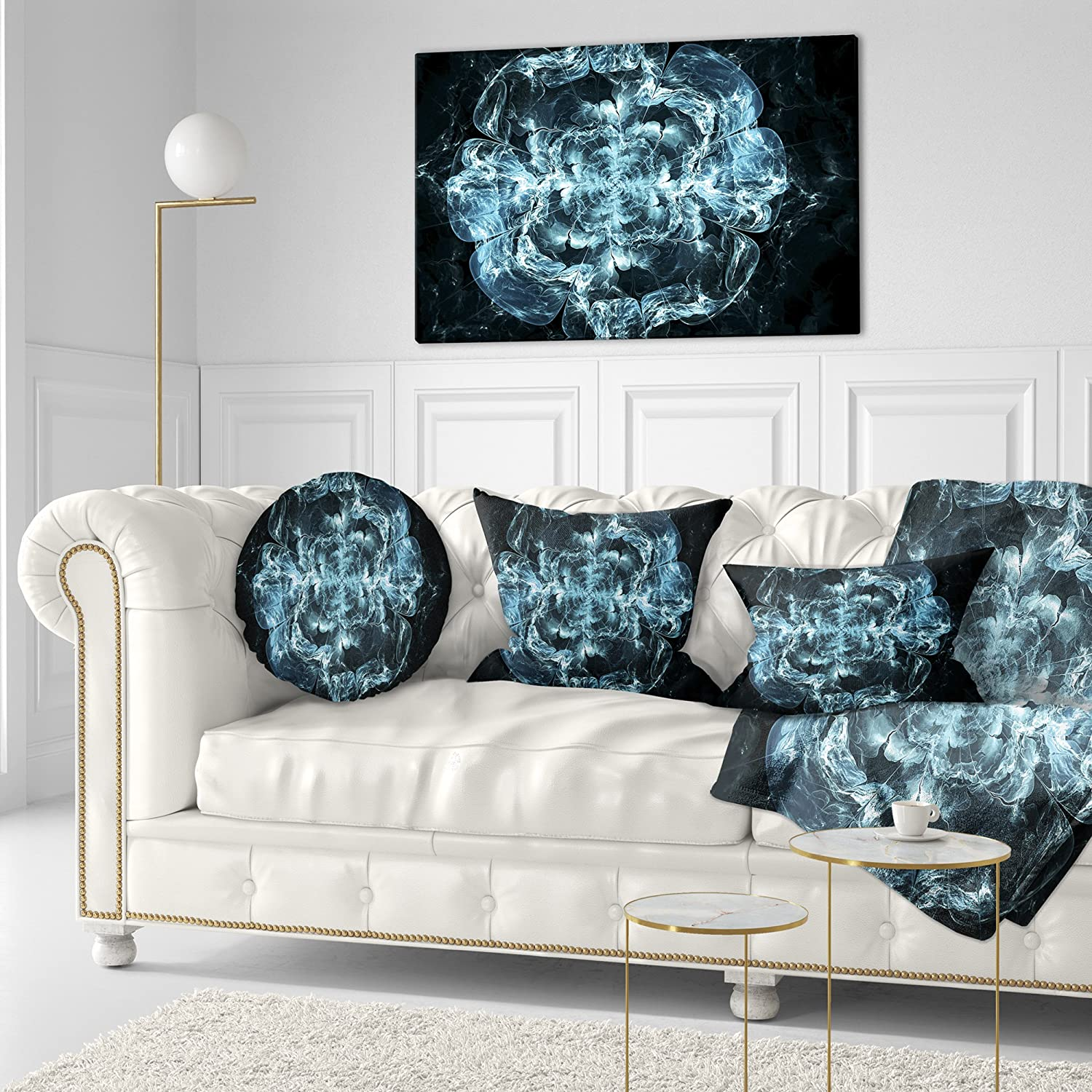 12 in Designart CU8697-12-20 Fractal Blue Flower Explosion Floral Throw Lumbar Cushion Pillow Cover for Living Room x 20 in. Sofa