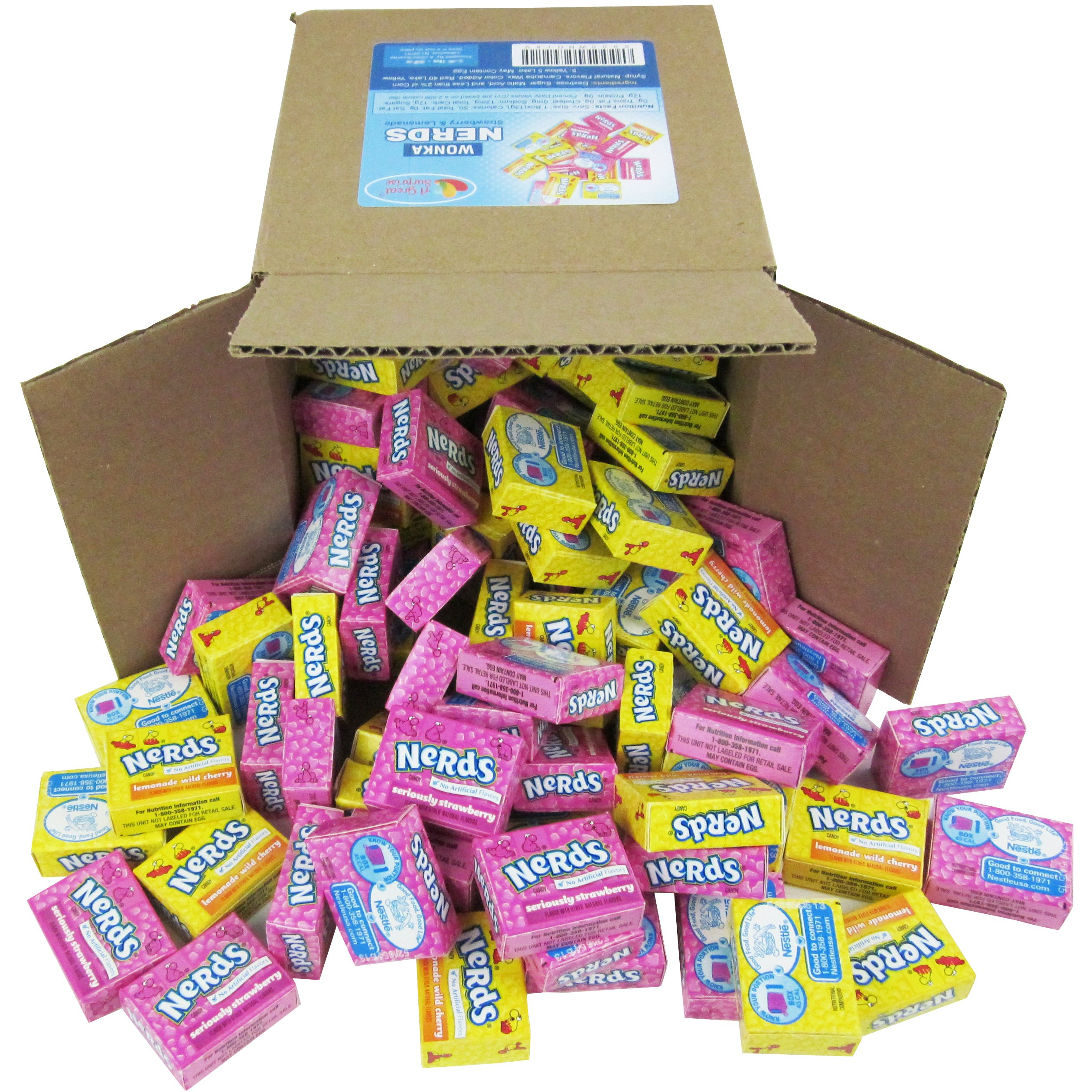 Nerds Candy - Wonka Nerds Mini Boxes, Strawberry and Lemonade Wild Cherry Assortment, 4 LB Box Bulk Candy (Approx. 100 Mini Boxes)