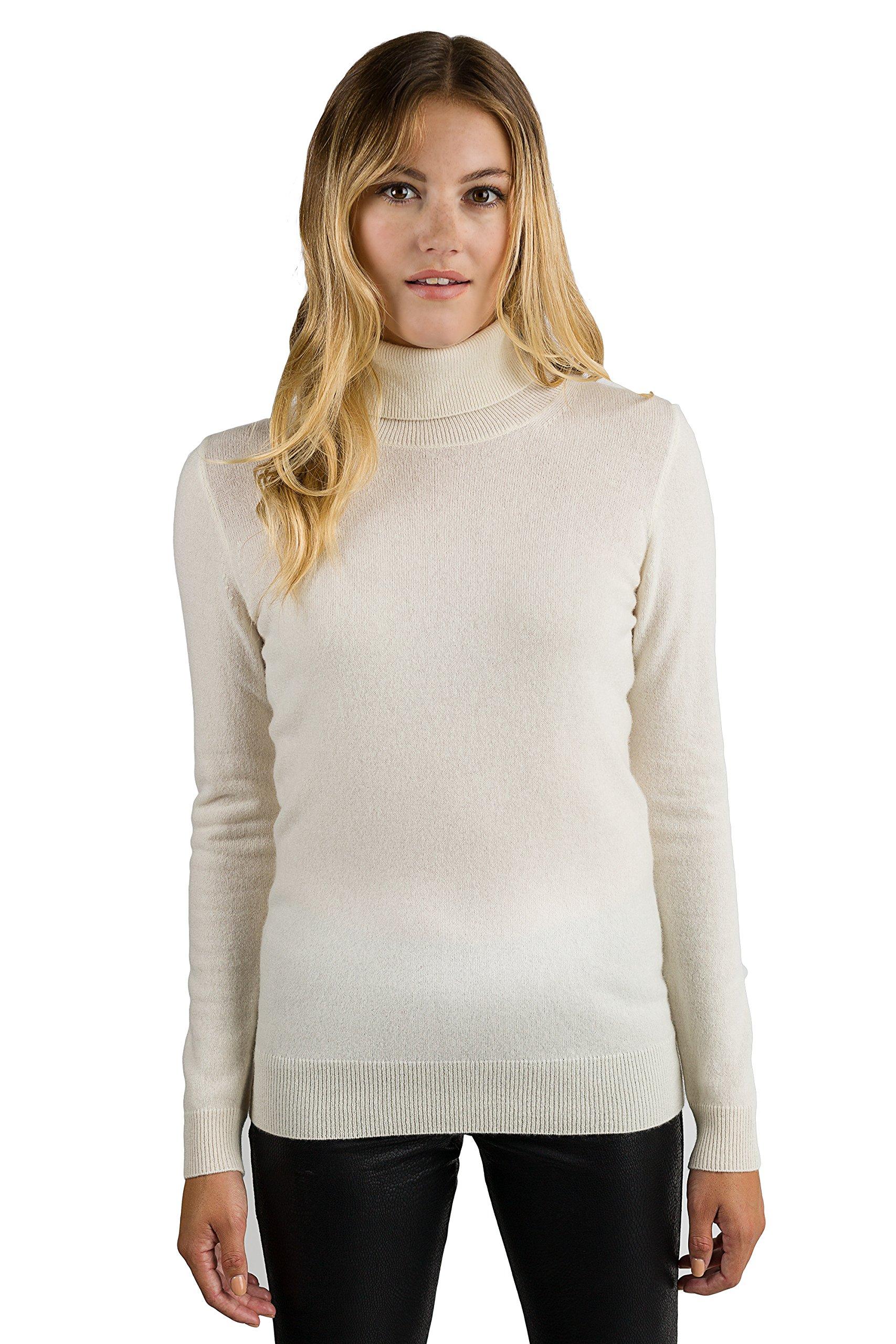 JENNIE LIU Women's 100% Pure Cashmere Long Sleeve Pullover Turtleneck Sweater (M, Cream)