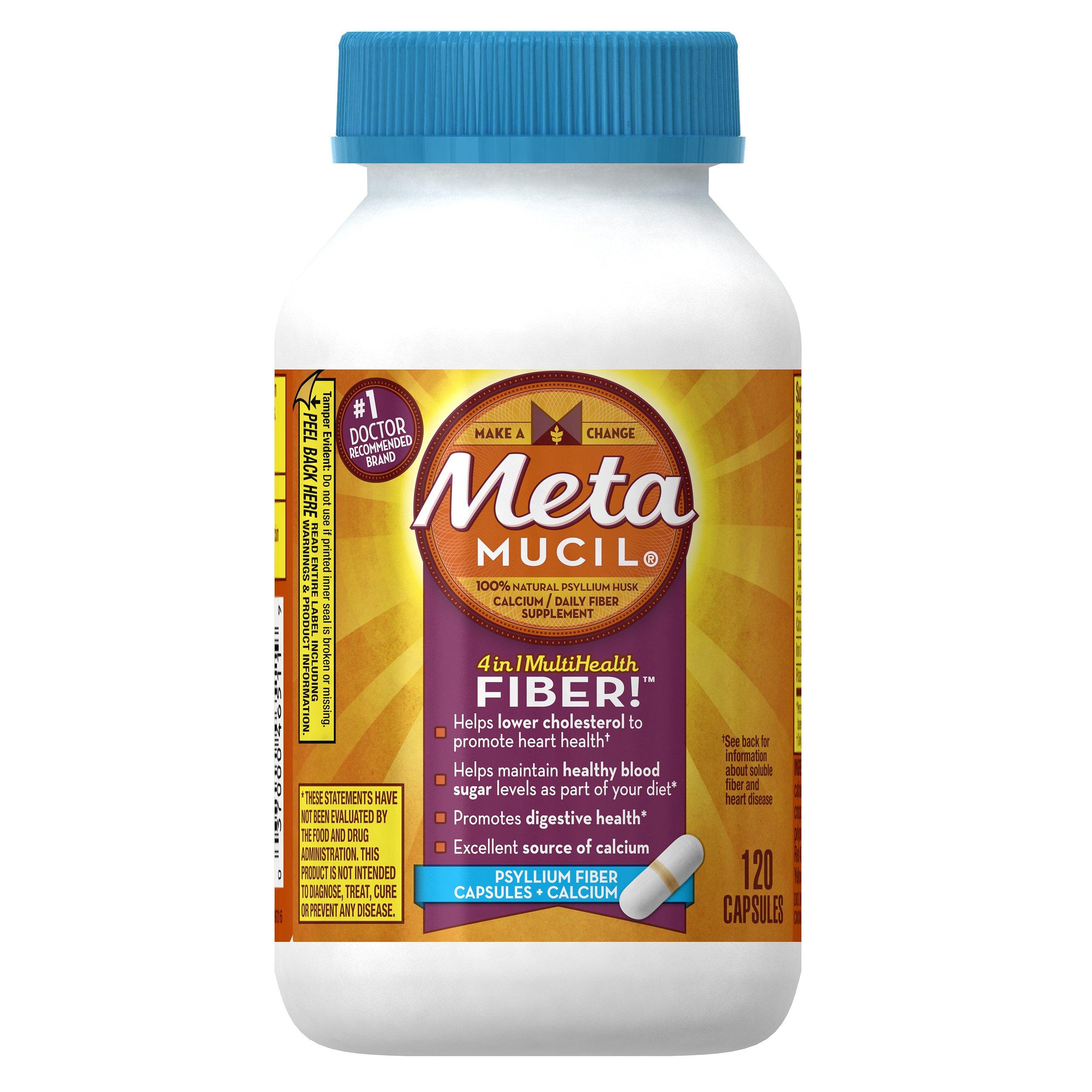 Metamucil Daily Fiber Supplement Plus Calcium, Psyllium Husk Capsules, 120 Capsules by Metamucil