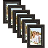 DesignOvation Kieva Solid Wood Picture Frames, Distressed Black 4x6, Pack of 6