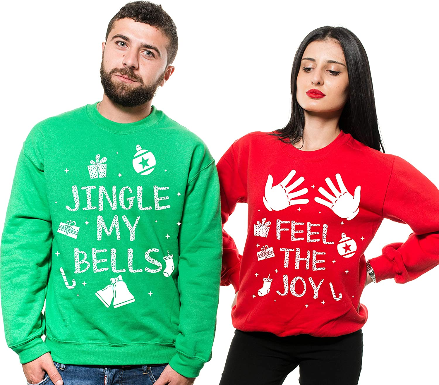 Silk Road Tees Christmas Green Red Sweatshirts Couple Matching Ugly Sweater Party Sweatshirts